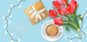 Happy Mother Day card with lights garland and gift box. Coffee and tulip flowers bouquet Vector realistic. Bright blue color background - starpik