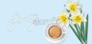 Hello spring card with coffee and narcissus flowers bouquet Vector realistic - starpik