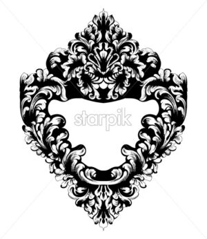 Imperial Baroque Mirror frame Vector. French Luxury rich intricate ornaments. Victorian Royal Style decor - starpik