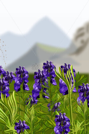 Lavender field Vector illustration. Mountains hills on background - starpik