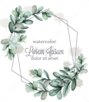 Leaves abstract wreath frame Vector watercolor. Wild green card decoration - starpik