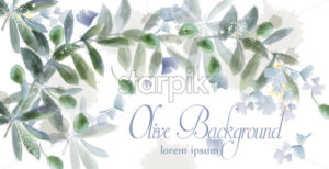 Leaves card frame Vector watercolor. Wild green texture for decoration - starpik