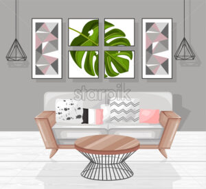 Living room interior design Vector. Modern decorations. Flat style - starpik