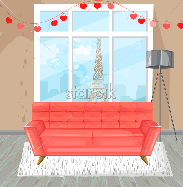 Living room red sofa watercolor Vector. Couch and Paris view from the window - starpik