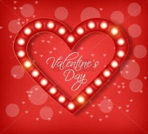 Love heart in lights Vector realistic. Special Valentine day card. Red romantic background illustration - starpik