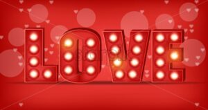 Love text in lights Vector realistic. Special Valentine day card. Red romantic background illustration - starpik