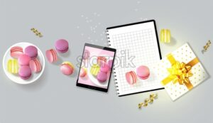 Macaroons gift realistic Vector. Tablet and notesbook template layout 3d illustration. Menu dessert product placement - starpik