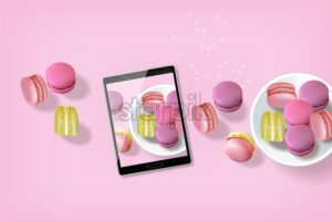 Macaroons realistic Vector. Tablet taking macaroons photo template layout 3d illustration. Menu dessert label product placement - starpik
