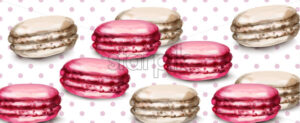 Macaroons retro background Vector watercolor. Banner template sweet french decor - starpik