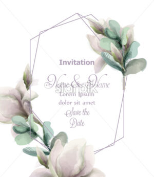 Magnolia flowers with glitter abstract frame Vector watercolor. Shiny glittering floral composition. Wedding card or invitation - starpik
