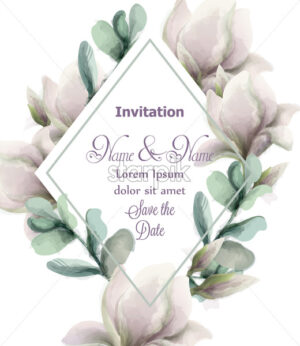 Magnolia flowers with glitter frame Vector watercolor. Shiny glittering floral composition. Wedding card or invitation - starpik