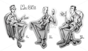 Man sitting on a chair Vector sketch storyboard. cartoon character illustration - starpik