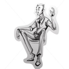 Man sitting on a chair Vector sketch. Idea concept. Storyboard cartoon character illustration - starpik