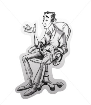 Man sitting on a chair Vector sketch. Storyboard cartoon character illustration - starpik