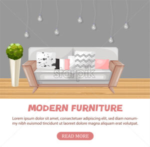 Modern sofa isolated Vector. Furniture icon design. Sale interior decorations - starpik