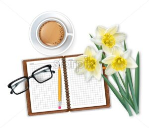 Morning coffee notepad and narcissus bouquet Vector realistic illustration - starpik
