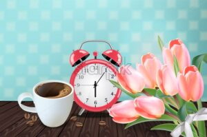 Morning cup of coffee and allarm Vector realistic. Tulip flowers bouquet and retro background. Spring summer season card illustrations. 80s style template - starpik