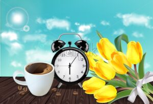 Morning cup of coffee and allarm Vector realistic. Tulip flowers bouquet. Spring summer season card illustration - starpik