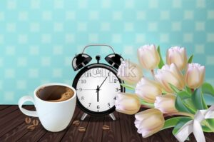 Morning cup of coffee and allarm Vector realistic. White Tulip flowers bouquet and retro background. Spring summer season card illustrations. 80s style template - starpik
