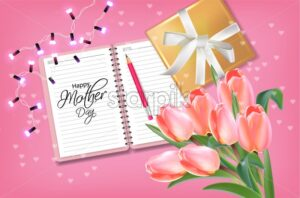 Mother day card with tulips bouquet Vector realistic. Gifts and flowers on pink background. Delicate holiday poster. Spring summer season card 3d illustration - starpik
