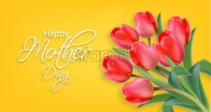 Mother day tulip flowers Vector realistic. Beautiful spring card holiday yellow bright color - starpik