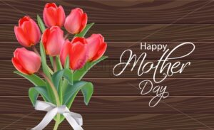Mother day tulip flowers bouquet Vector realistic. Beautiful spring card holiday. Wooden background - starpik