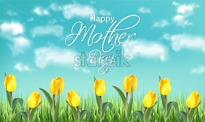 Mother day yellow tulip flowers field Vector realistic banner templates. Spring summer card - starpik