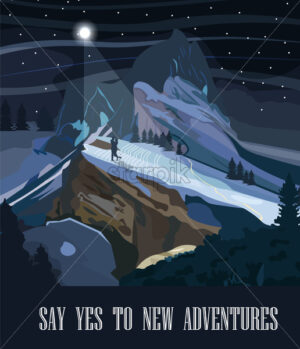 Mountains background at night Vector. Travel theme banner. Romantic couple adventure in the middle of the nature - starpik