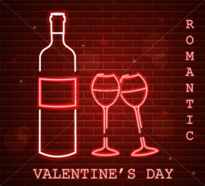 Neon Valentine day card with wine bottle and glasses Vector. Red romantic dinner symbol in neon light. Valentine day celebrate. Modern graphic brick background - starpik