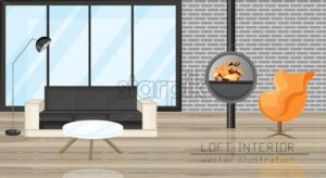 Office, lounge, living room design Vector. Chimney and couch, Flat style. Sale advertise brochure template - starpik