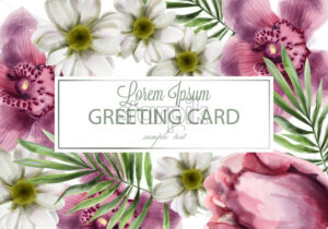Orchid and daisy flowers card Vector watercolor. Spring summer beautiful greeting or wedding invitation - starpik