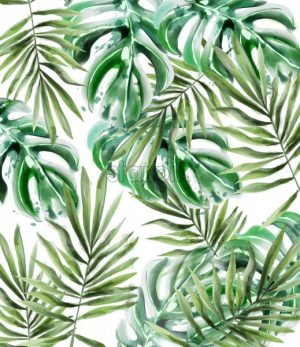 Palm leaves pattern Vector watercolor. Tropic exotic texture. Wild green decor - starpik