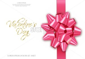 Pink bow Vector realistic. Special Valentine day card wishes. 3d detailed illustration - starpik