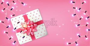 Pink gift box and lights garland Vector realistic. Celebrate love card. 3d detailed illustration - starpik