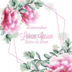 Pink peony flowers frame watercolor banner Vector. Abstract floral bouquet invitation. Wedding ceremony event - starpik