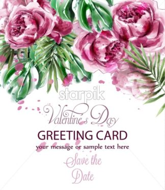 Pink peony flowers watercolor banner Vector. Exotic floral bouquet invitation. Wedding ceremony event card - starpik
