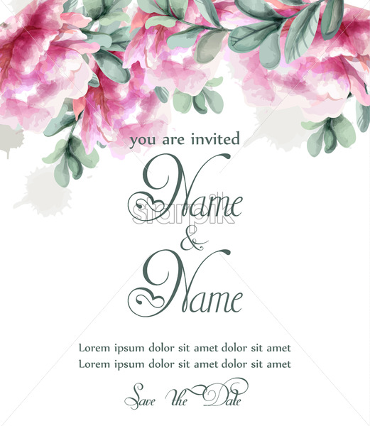 Pink Peony Flowers Watercolor Banner Vector Fl Bouquet Invitation Wedding Ceremony Event