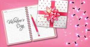 Pink romantic card with gift box and garland Vector realistic. Celebrate love card. 3d detailed illustration - starpik