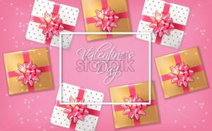 Pink romantic card with gift boxes Vector realistic. Celebrate love card. 3d detailed illustration - starpik