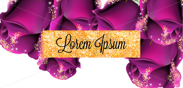 Pruple roses golden glitter card Vector. Shiny glamour invitation. Wedding celebration. Floral decor background - starpik
