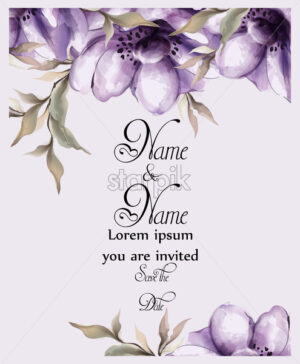 Purple flowers card watercolor Vector. Wedding invitation ceremony. Spring trendy painted decor - starpik