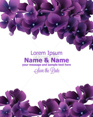 Purple flowers frame Vector. Wedding invitation card, ceremony event, anniversary template - starpik