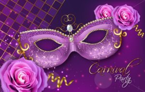 Purple ornamented mask and rose flowers Vector realistic. Stylish Masquerade Party. Mardi Gras card invitation. Night Party Poster. Dance Flyer. Musical festival banner template - starpik
