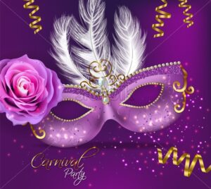 Purple ornamented mask card Vector realistic. Stylish Masquerade Party. Mardi Gras card invitation. Night Party Poster. Dance Flyer. Musical festival banner template - starpik