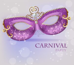 Purple ornamented mask close up Vector realistic. Stylish Masquerade Party. Mardi Gras card invitation. Night Party Poster. Dance Flyer. Musical festival banner template - starpik