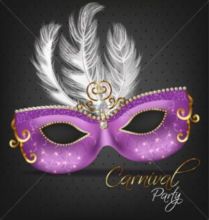 Purple ornamented mask with feathers Vector realistic. Stylish Masquerade Party. Mardi Gras card invitation. Night Party Poster. Dance Flyer. Musical festival banner template - starpik