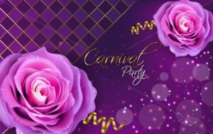 Purple roses Vector realistic. Violet background with glitter lights decor - starpik