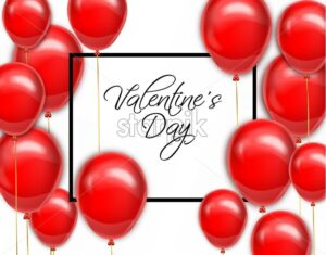 Red balloons for Valentine day card Vector realistic. Romantic party invitattion. detailed 3d balloon decor - starpik