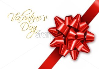 Red bow Vector realistic. Special Valentine day card wishes. 3d illustration - starpik