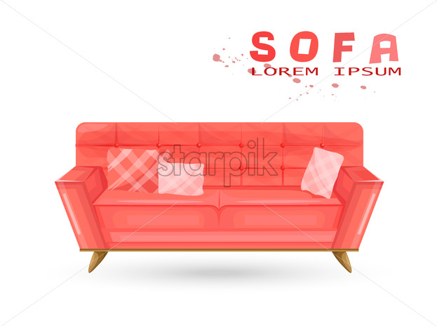 Red Vintage Sofa In Watercolor Vector Couch Isolated On White
